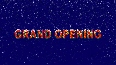 New Year text text GRAND OPENING. Snow falls. Christmas mood, looped video. Animation
