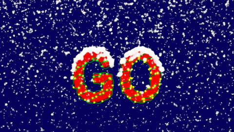 New Year text text GO. Snow falls. Christmas mood, looped video. Alpha channel Animation