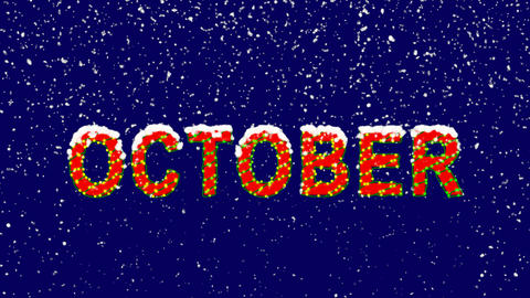 New Year text name of the month OCTOBER. Snow falls. Christmas mood, looped Animation