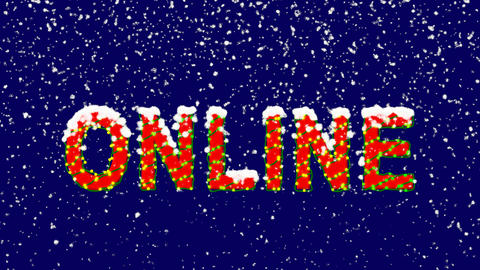 New Year text text ONLINE. Snow falls. Christmas mood, looped video. Alpha Animation