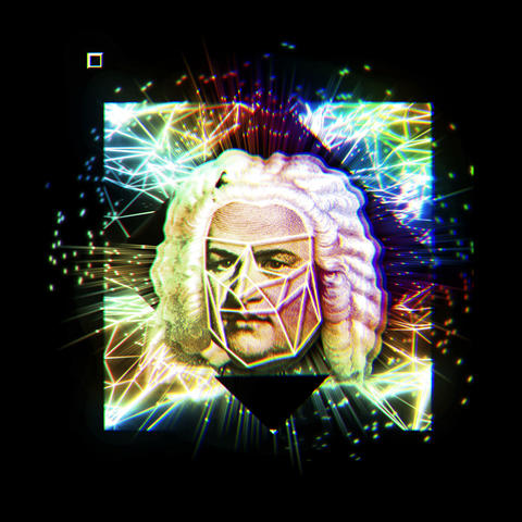 Famous Musician Bach Statue Head Psychedelic Clorors Sparkling Rays Changing Live Action