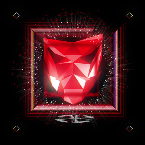 Red Shining Crystal Polymask With DIfferent Psychedelic Sparkling Frames VJ Loop Footage