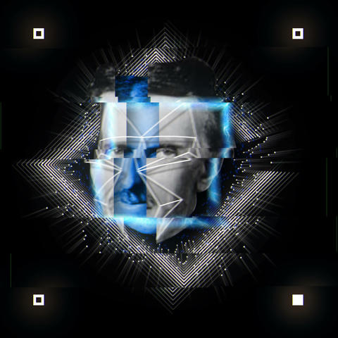 Black and White Tesla Head in Blue Shining Square Black Background VJ Loop Live Action