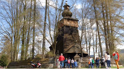 Unesco Poland. Wooden church in Powroznik at the wooden architecture route Footage