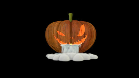Jack o lantern with smoke in mouth CG動画素材