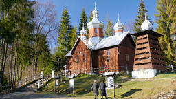 Old wooden church in Kamianna, Poland Footage