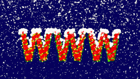 New Year text abbreviation WWW. Snow falls. Christmas mood, looped video. Alpha Animation