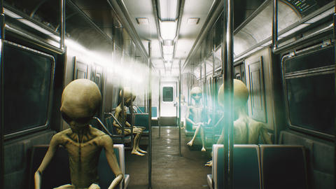Alien go to work in the train. Abstract cosmic fantasy. 3D Rendering フォト