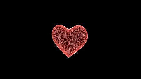 3d hologram red heart symbol spinning Footage