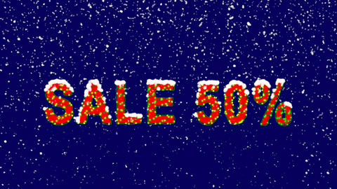 New Year text sale tag SALE 50%. Snow falls. Christmas mood, looped video. Alpha Animation