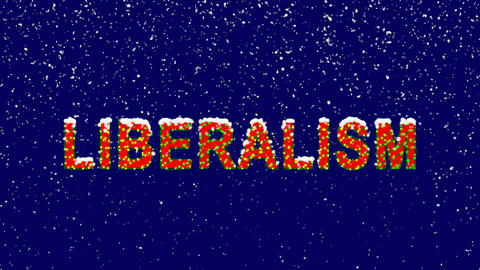 New Year text political system LIBERALISM. Snow falls. Christmas mood, looped Animation