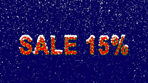 New Year text sale tag SALE 15%. Snow falls. Christmas mood, looped video. Alpha Animation