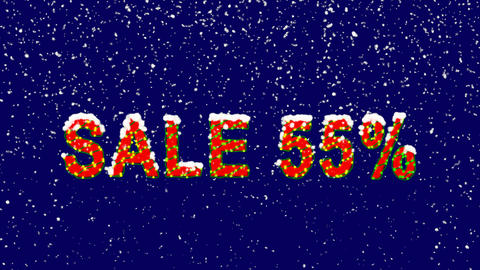 New Year text sale tag SALE 55%. Snow falls. Christmas mood, looped video. Alpha Animation