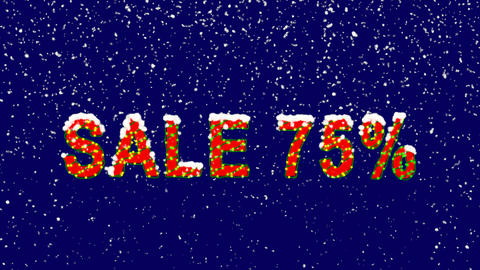 New Year text sale tag SALE 75%. Snow falls. Christmas mood, looped video. Alpha Animation