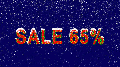 New Year text sale tag SALE 65%. Snow falls. Christmas mood, looped video. Alpha Animation