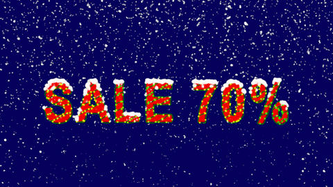 New Year text sale tag SALE 70%. Snow falls. Christmas mood, looped video. Alpha Animation