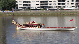 Gloriana royal barge on River Thames London UK Footage