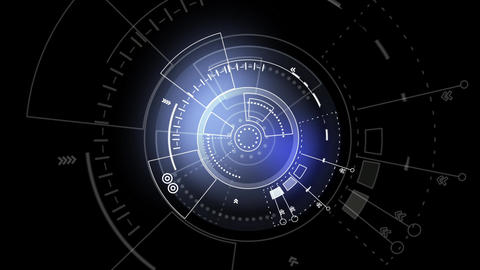 Sci fi rotating circles user interface design element HUD After Effects Template