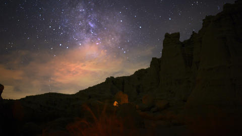 Milky Way Galaxy 71 Dolly R Down Timelapse Mojave Desert Red Rock Canyon Footage