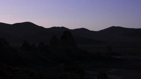 Trona Pinnacles LM08 Timelapse Night to Sunrise Moonlight Shadows Tilt Down Footage