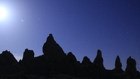 Trona Pinnacles LM31 Tilt Up Timelapse Night Sky Full Moon Mojave Desert Footage