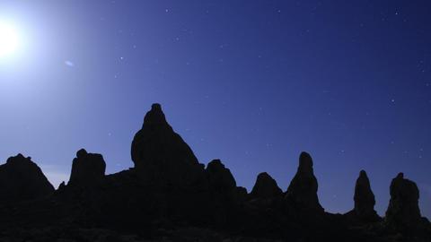 Trona Pinnacles LM31 Tilt Up Timelapse Night Sky Full Moon Mojave Desert Footage