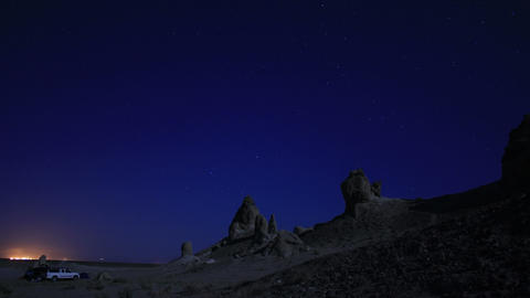 Trona Pinnacles LM40 Tilt Up Timelapse Night Sky Mojave Desert Footage