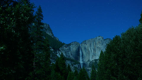 Yosemite Falls Stars 07 Timelapse 3 Axis Dolly Pan Footage