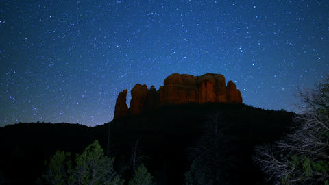 Sedona Milky Way 09 Dolly R and TU Cathedral Rock Time Lapse Stars Footage