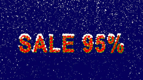 New Year text sale tag SALE 95%. Snow falls. Christmas mood, looped video. Alpha Animation