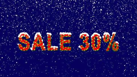 New Year text sale tag SALE 30%. Snow falls. Christmas mood, looped video. Alpha Animation