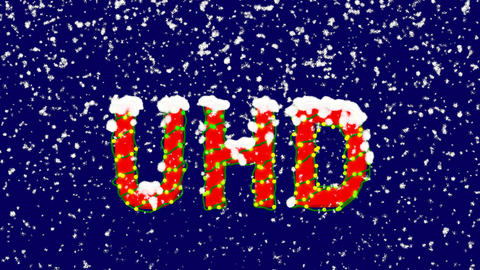 New Year text abbreviation UHD. Snow falls. Christmas mood, looped video. Alpha Animation