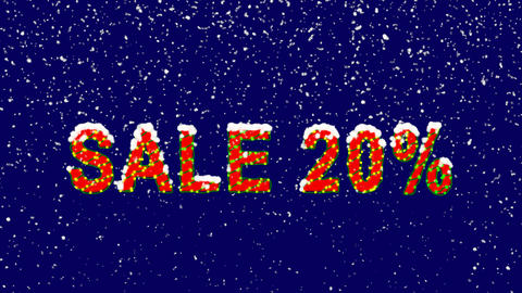 New Year text sale tag SALE 20%. Snow falls. Christmas mood, looped video. Alpha Animation