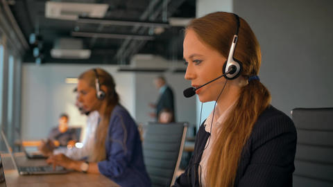 Call-center employees work in deal office Footage