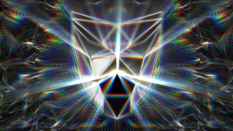 Polygonal Mask WIth Silver Shininy Sparkling Rays VJ Loop Footage