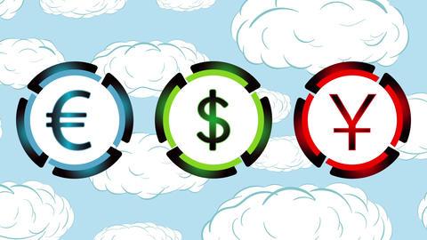 Bitcoin, dollar, yuan and clouds Animation