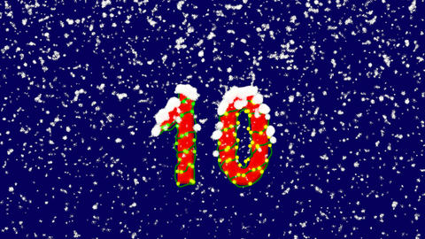 New Year text number ten 10. Snow falls. Christmas mood, looped video. Alpha Animation