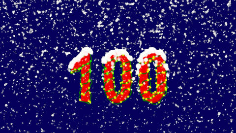 New Year text number one hundred 100. Snow falls. Christmas mood, looped video. Animation