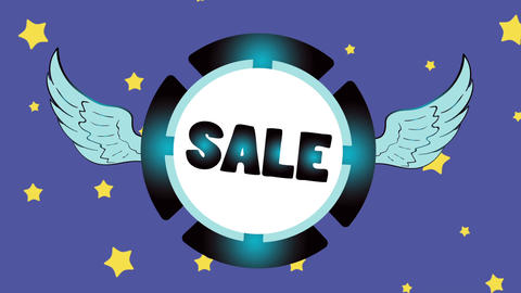 Sale blue icon in stars Animation