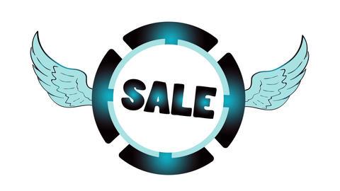 Sale blue icon on white Animation