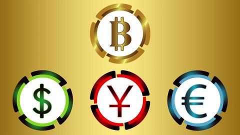 Symbols of currencies on golden gradient Animation