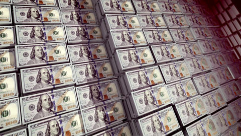 Bundles of 100 dollar bills in a safe Animation