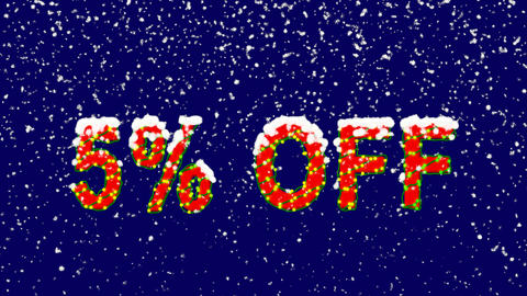 New Year text sale label 5% OFF. Snow falls. Christmas mood, looped video. Alpha Animation