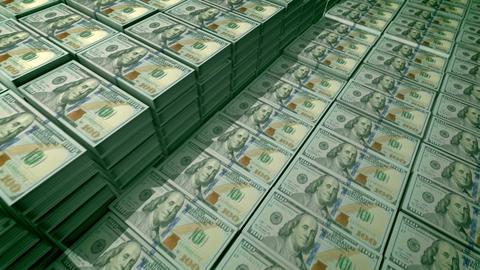 100 dollar bills in bundles in a bank deposit Animation