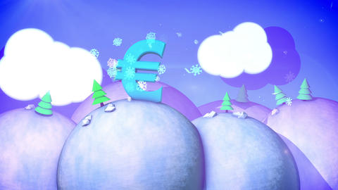 Christmas landscape with flying snowflakes Animation