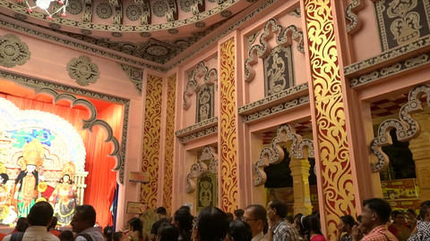 Goddess Durga Idol, Durga Puja Pandal, Kolkata, West Bengal, India Footage