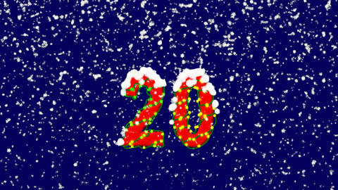 New Year text number twenty 20. Snow falls. Christmas mood, looped video. Alpha Animation