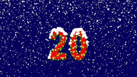 New Year text number twenty 20. Snow falls. Christmas… Stock Video Footage