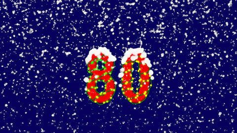 New Year text number eighty 80. Snow falls. Christmas mood, looped video. Alpha Animation