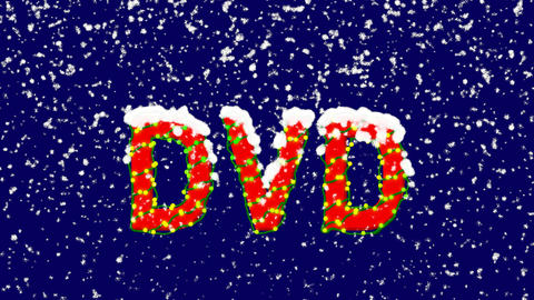New Year text abbreviation DVD. Snow falls. Christmas mood, looped video. Alpha Animation